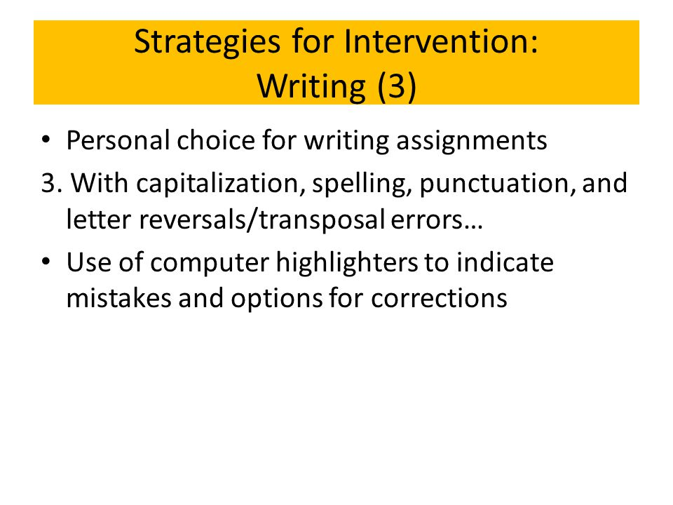Strategies for Intervention: Writing (3)