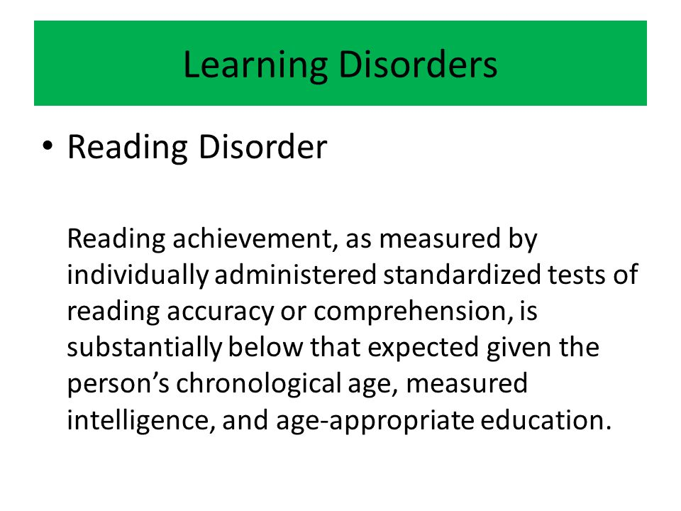 Learning Disorders Reading Disorder