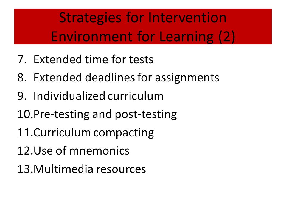 Strategies for Intervention Environment for Learning (2)