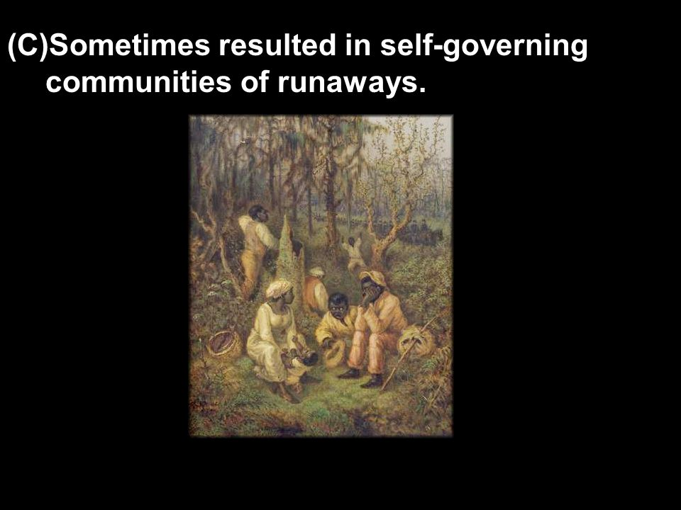 (C)Sometimes resulted in self-governing communities of runaways.