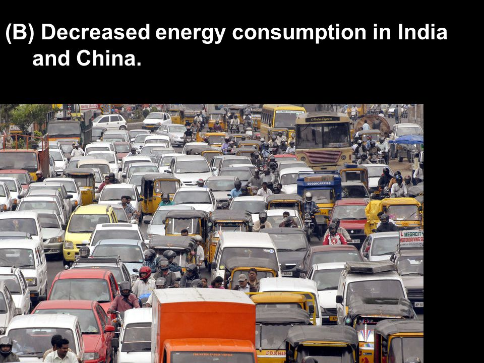(B) Decreased energy consumption in India and China.