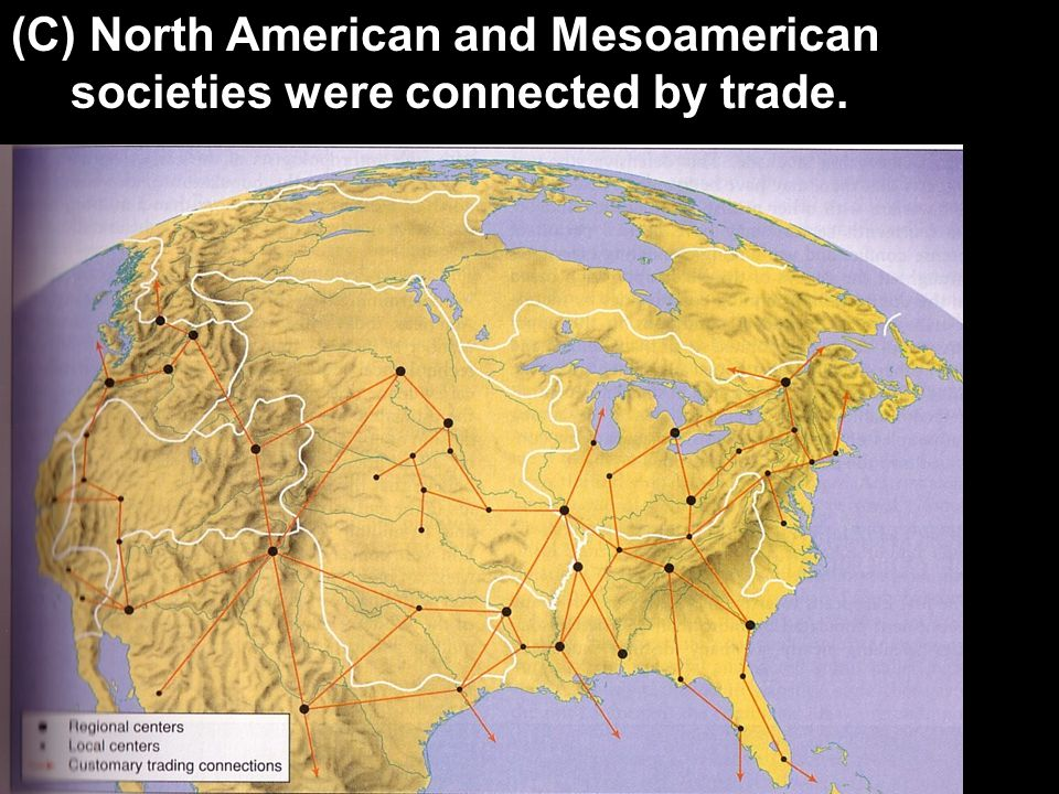 (C) North American and Mesoamerican societies were connected by trade.