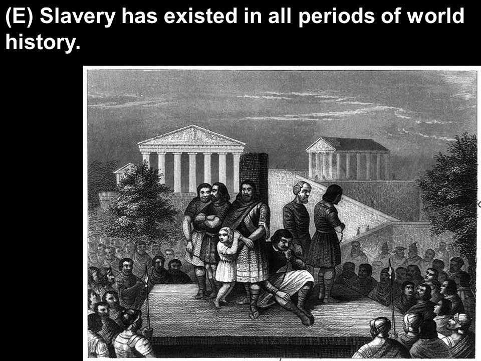 (E) Slavery has existed in all periods of world history.