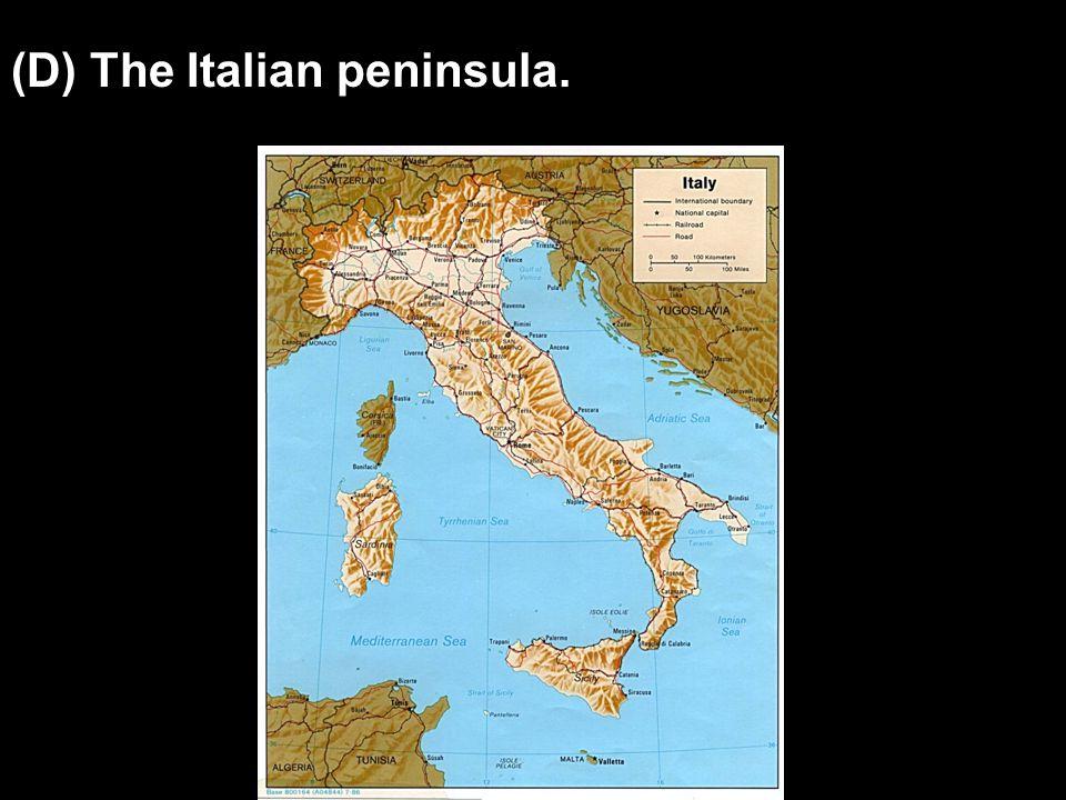 (D) The Italian peninsula.
