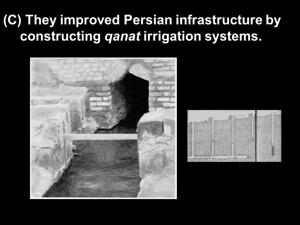 (C) They improved Persian infrastructure by constructing qanat irrigation systems.
