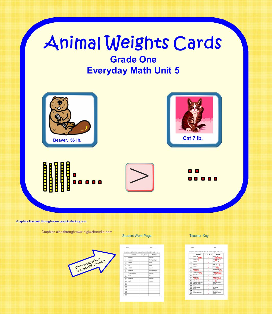 Animal Weights Cards Grade One Everyday Math Unit 5 Cat 7 lb.