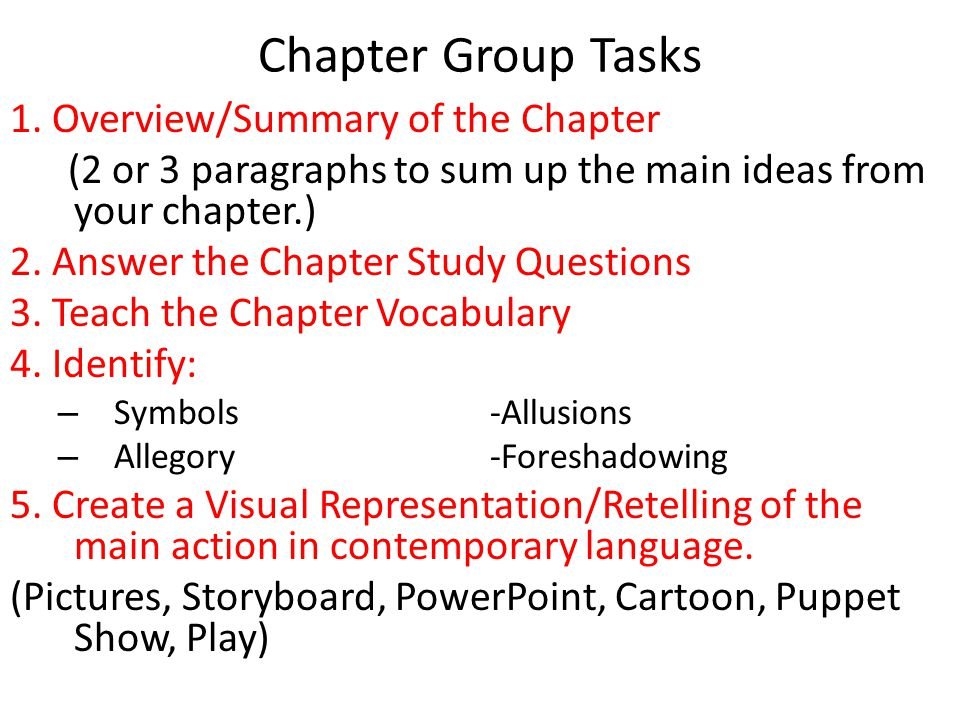 Chapter Group Tasks 1. Overview/Summary of the Chapter