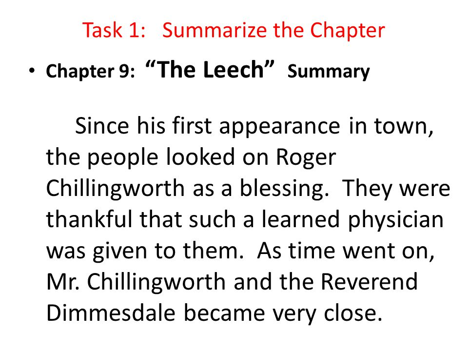 Task 1: Summarize the Chapter