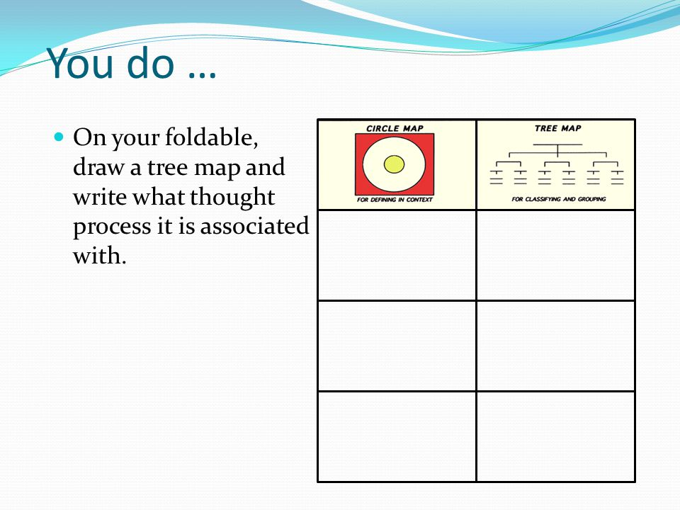 You do … On your foldable, draw a tree map and write what thought process it is associated with.