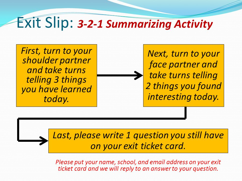 Exit Slip: 3-2-1 Summarizing Activity