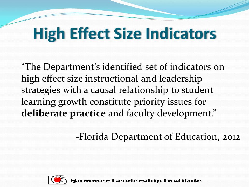 High Effect Size Indicators
