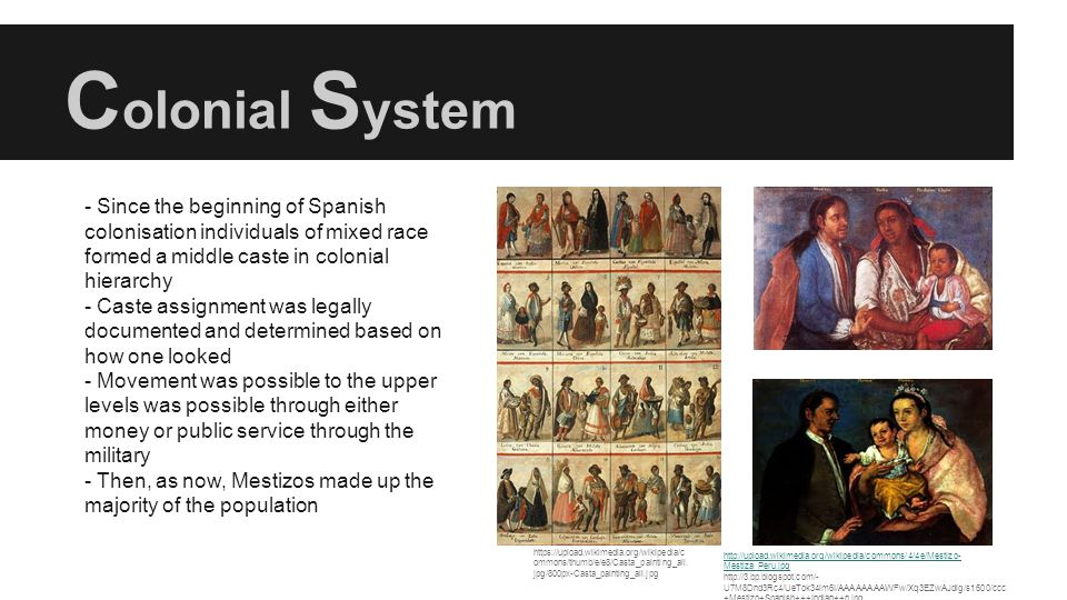 Colonial System - Since the beginning of Spanish colonisation individuals of mixed race formed a middle caste in colonial hierarchy.