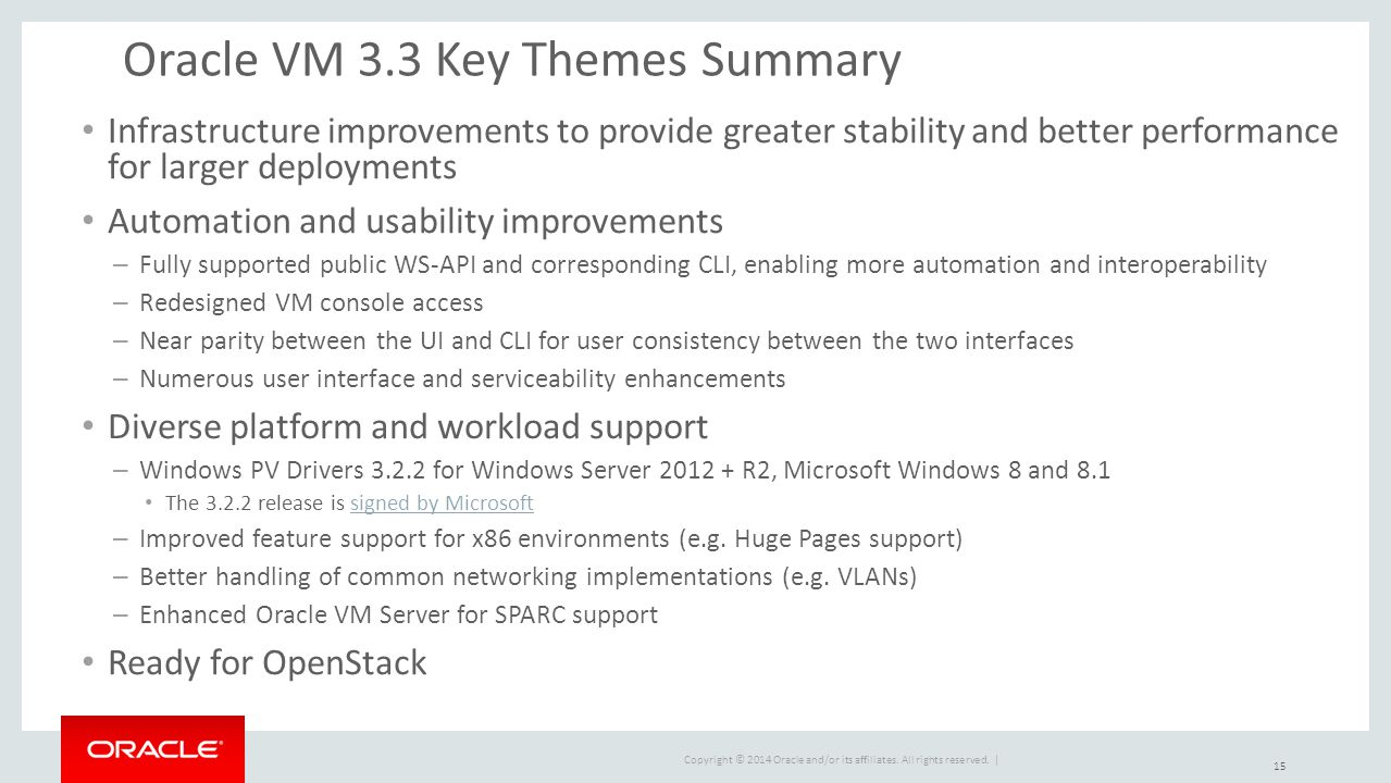 Oracle VM 3.3 Key Themes Summary