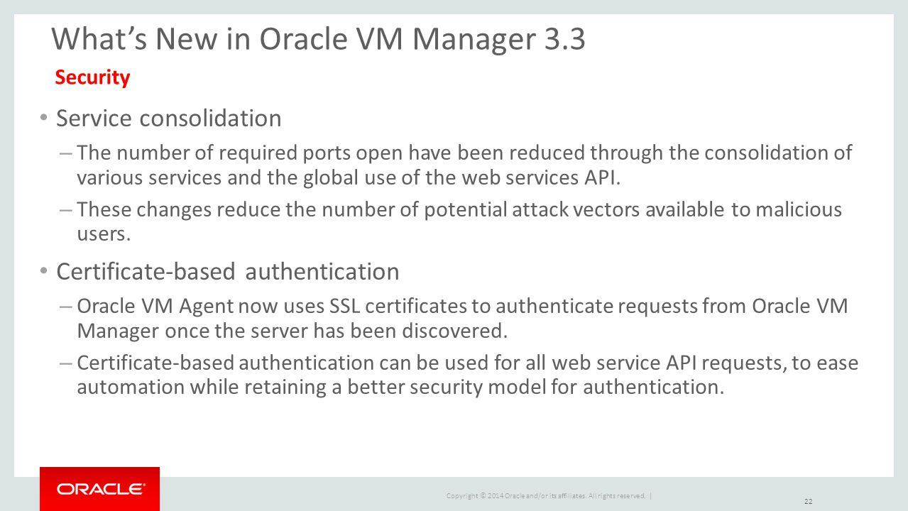 What's New in Oracle VM Manager 3.3