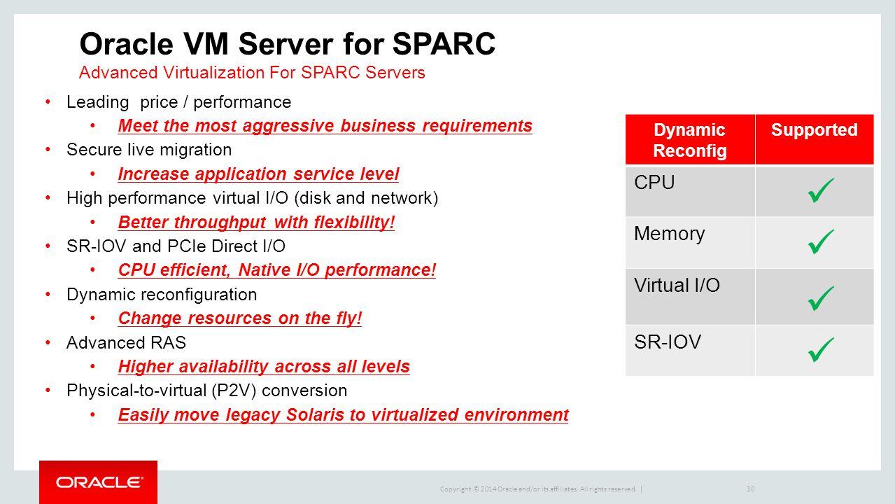 Oracle VM Server for SPARC Advanced Virtualization For SPARC Servers