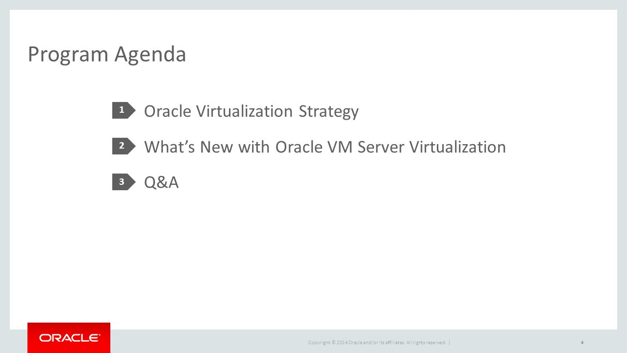 Program Agenda 1. Oracle Virtualization Strategy What's New with Oracle VM Server Virtualization Q&A