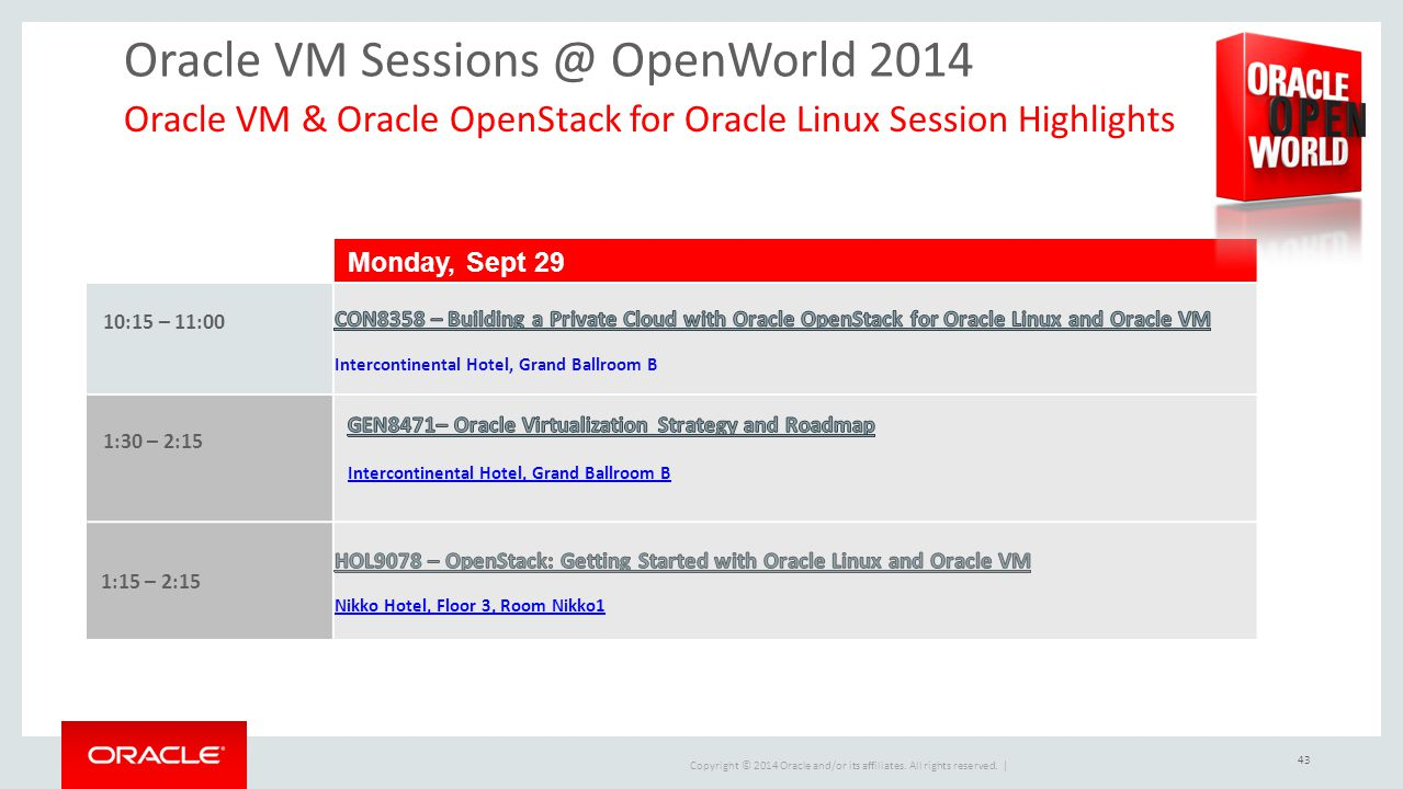 Oracle VM Sessions @ OpenWorld 2014