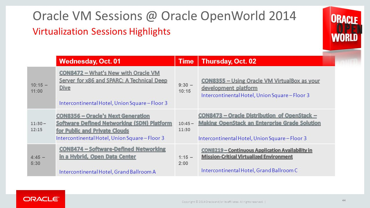 Oracle VM Sessions @ Oracle OpenWorld 2014