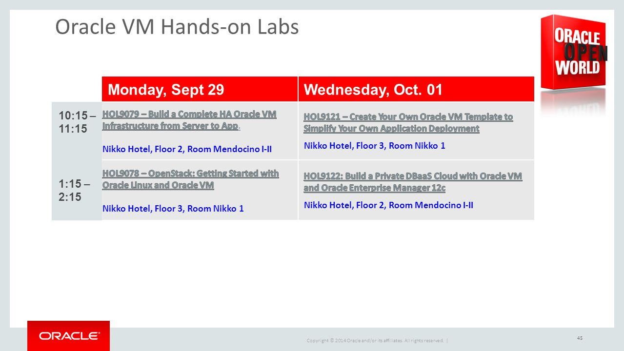 Oracle VM Hands-on Labs
