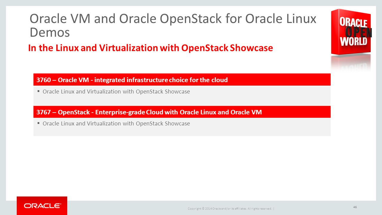 Oracle VM and Oracle OpenStack for Oracle Linux Demos