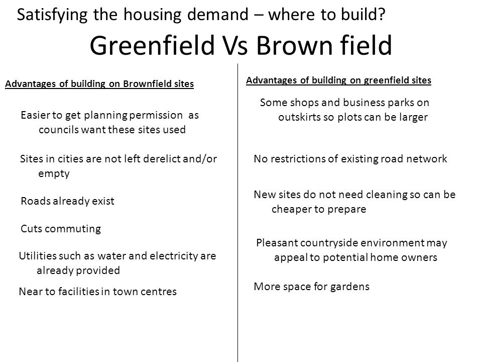 Greenfield Vs Brown field