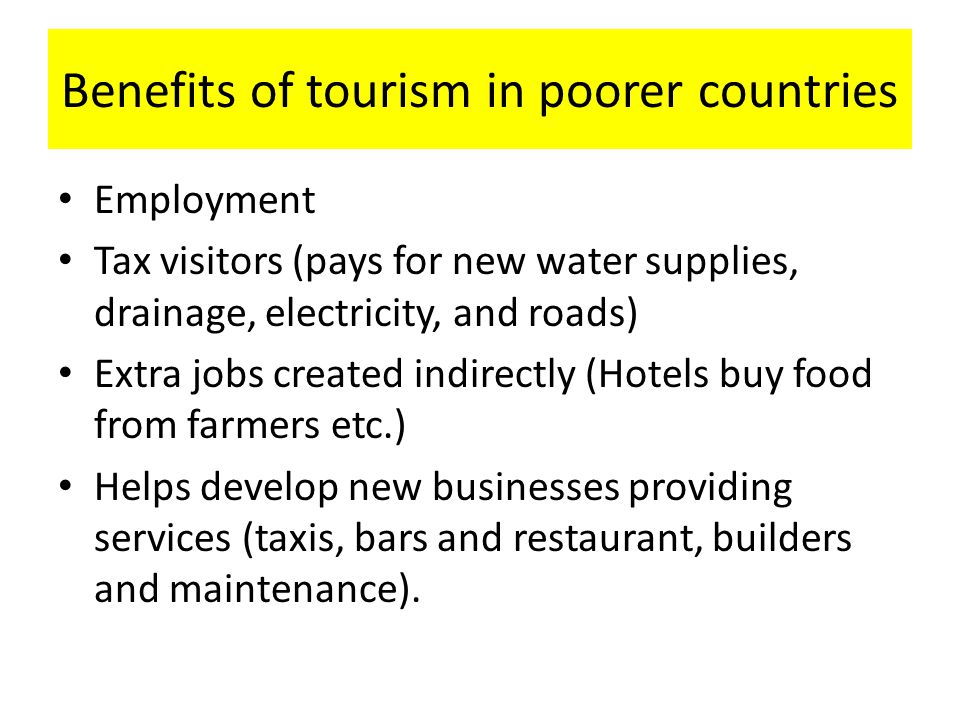 Benefits of tourism in poorer countries