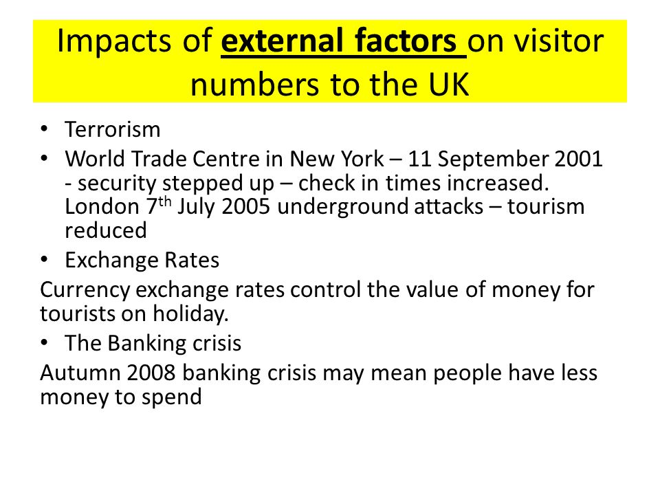 Impacts of external factors on visitor numbers to the UK