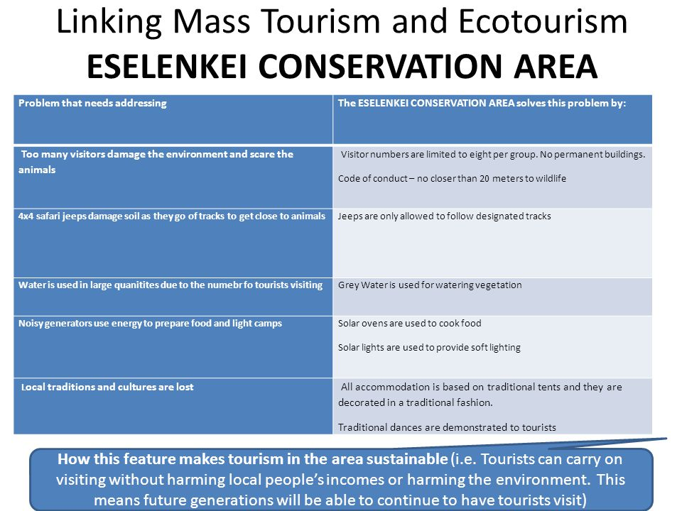 Linking Mass Tourism and Ecotourism ESELENKEI CONSERVATION AREA
