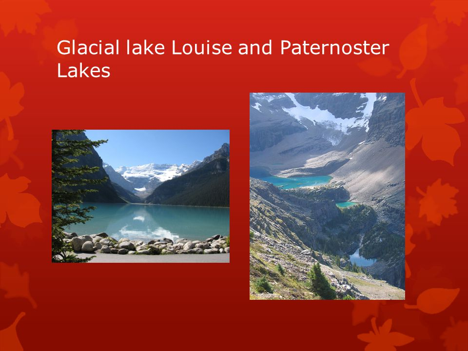 Glacial lake Louise and Paternoster Lakes