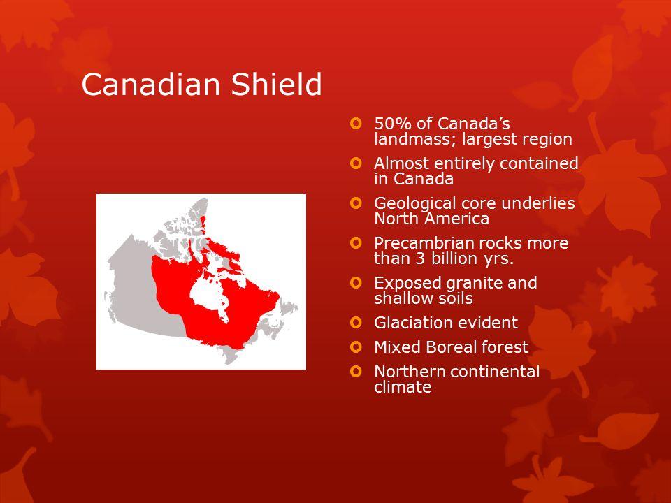 Canadian Shield 50% of Canada's landmass; largest region