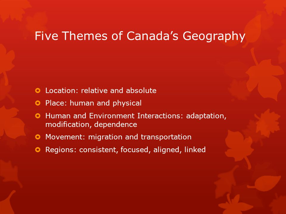 Five Themes of Canada's Geography