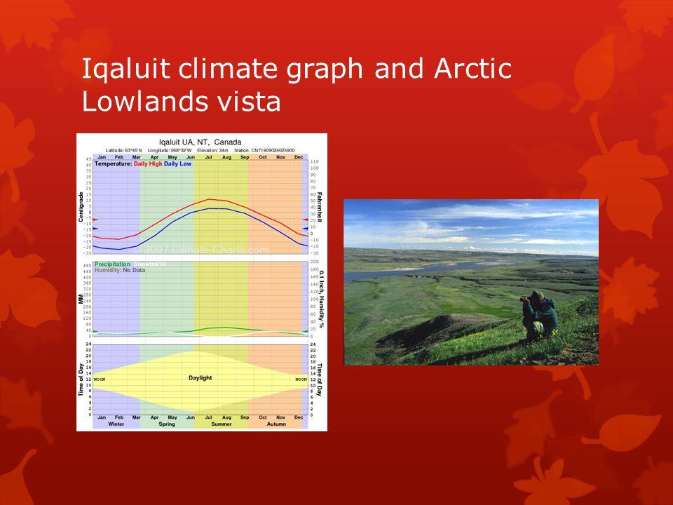 Iqaluit climate graph and Arctic Lowlands vista