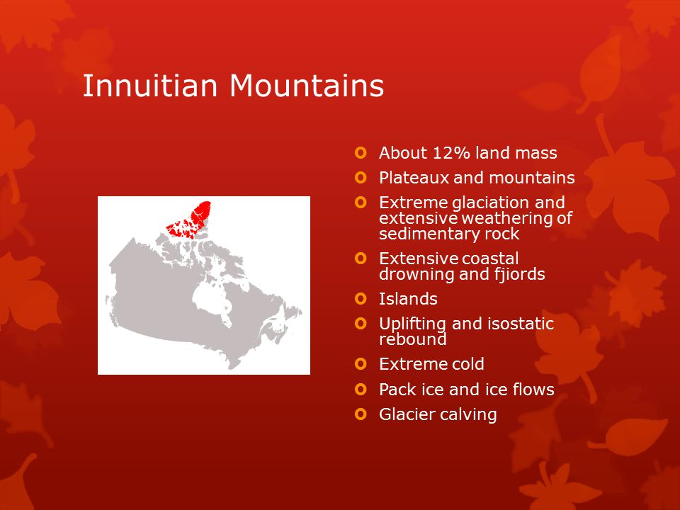 Innuitian Mountains About 12% land mass Plateaux and mountains