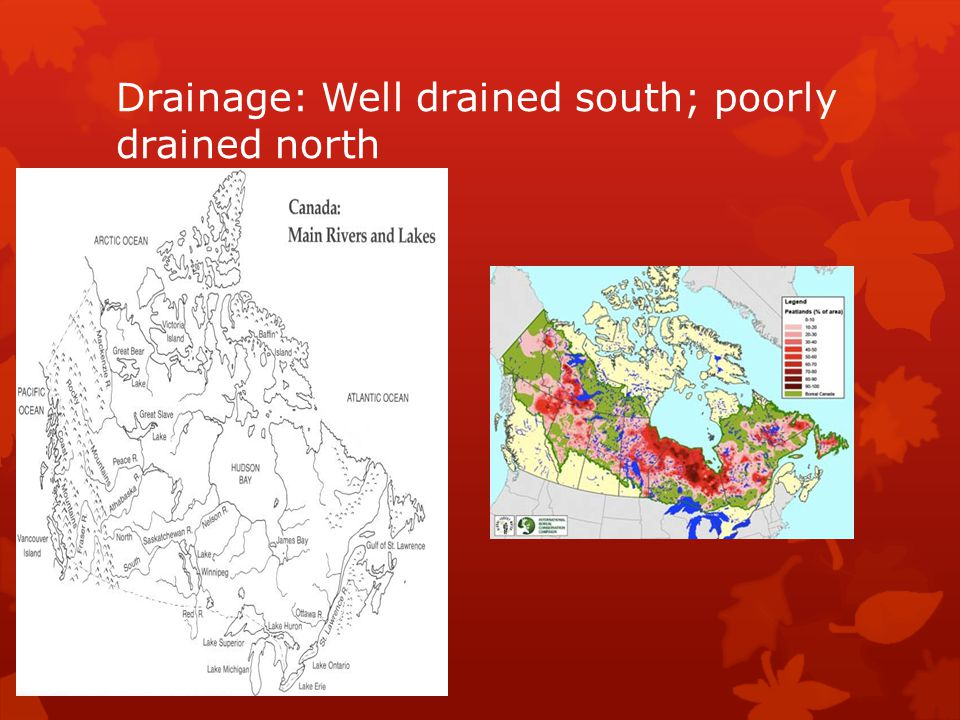 Drainage: Well drained south; poorly drained north