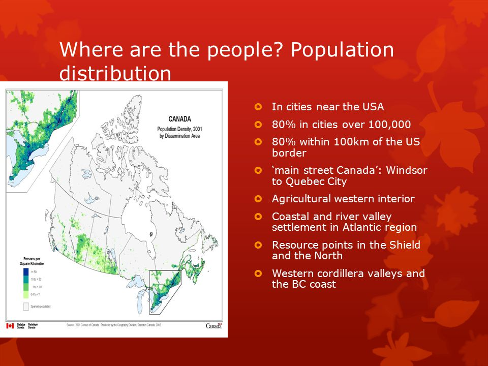Where are the people Population distribution