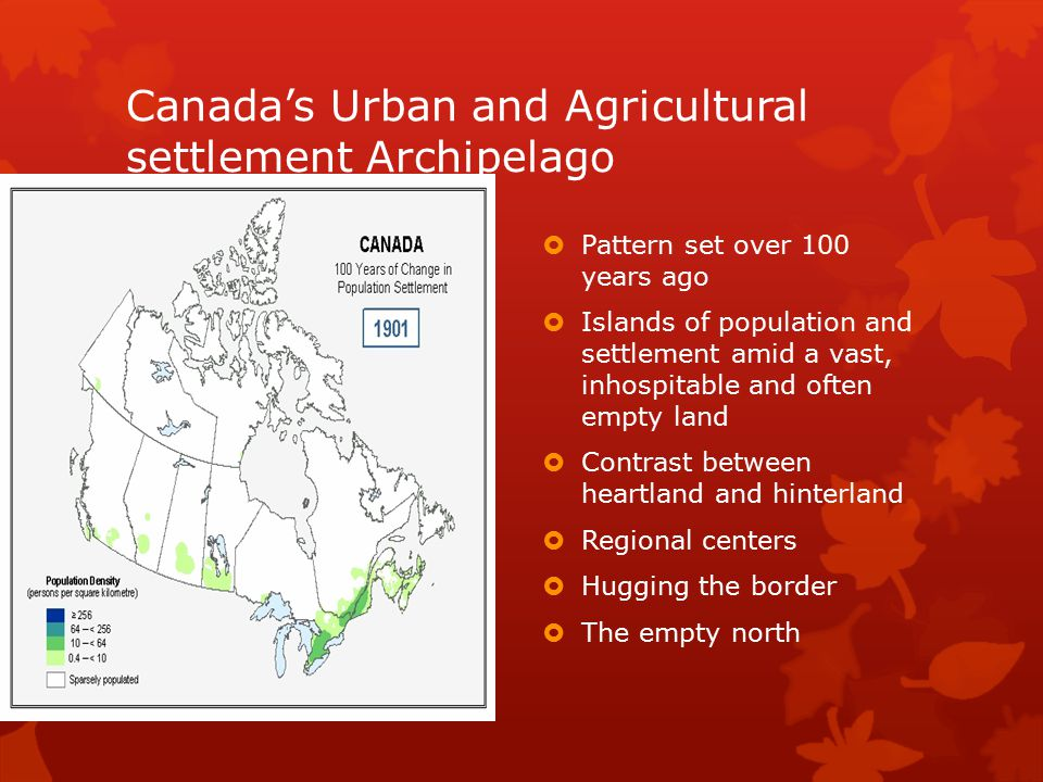 Canada's Urban and Agricultural settlement Archipelago