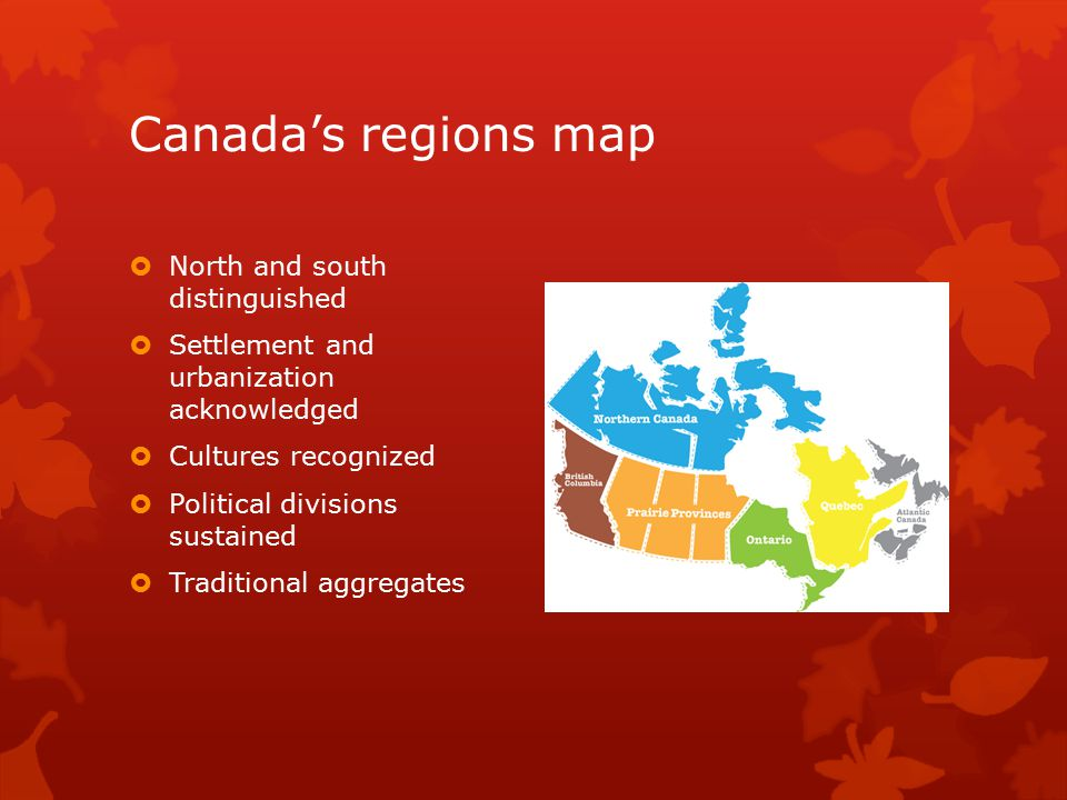 Canada's regions map North and south distinguished