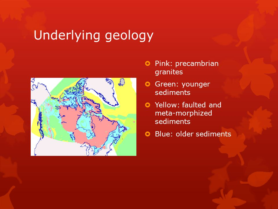 Underlying geology Pink: precambrian granites Green: younger sediments