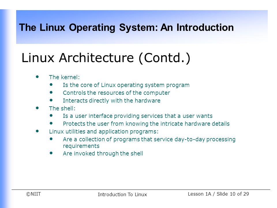 Linux Architecture (Contd.)