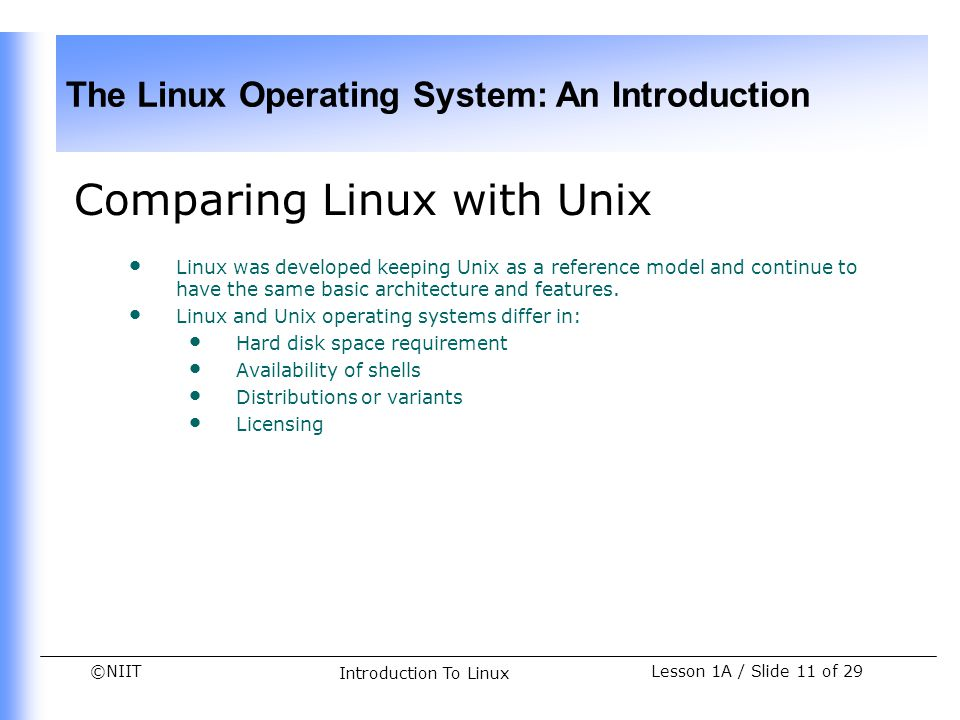 Comparing Linux with Unix