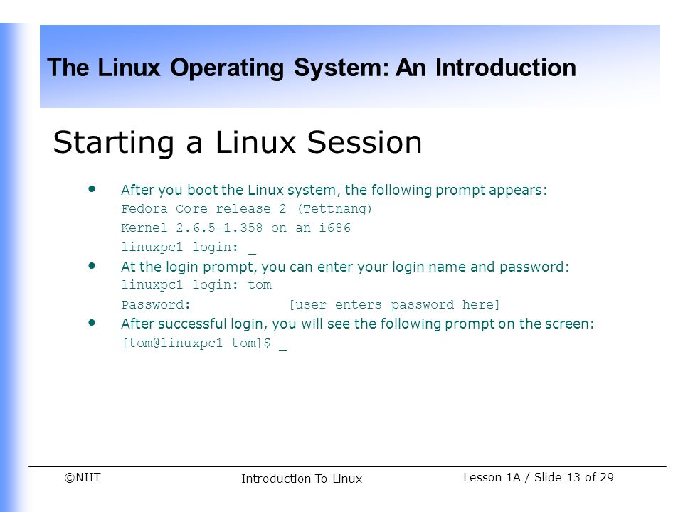 Starting a Linux Session