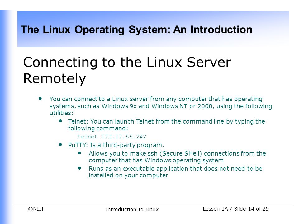 Connecting to the Linux Server Remotely