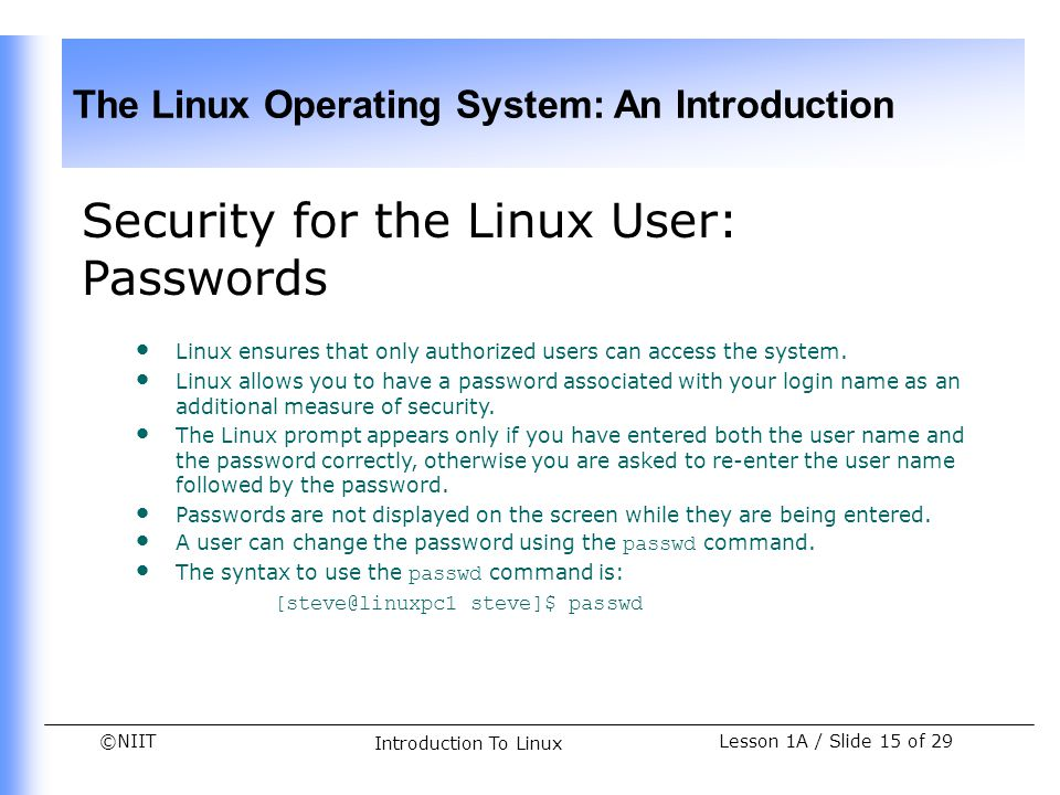 Security for the Linux User: Passwords