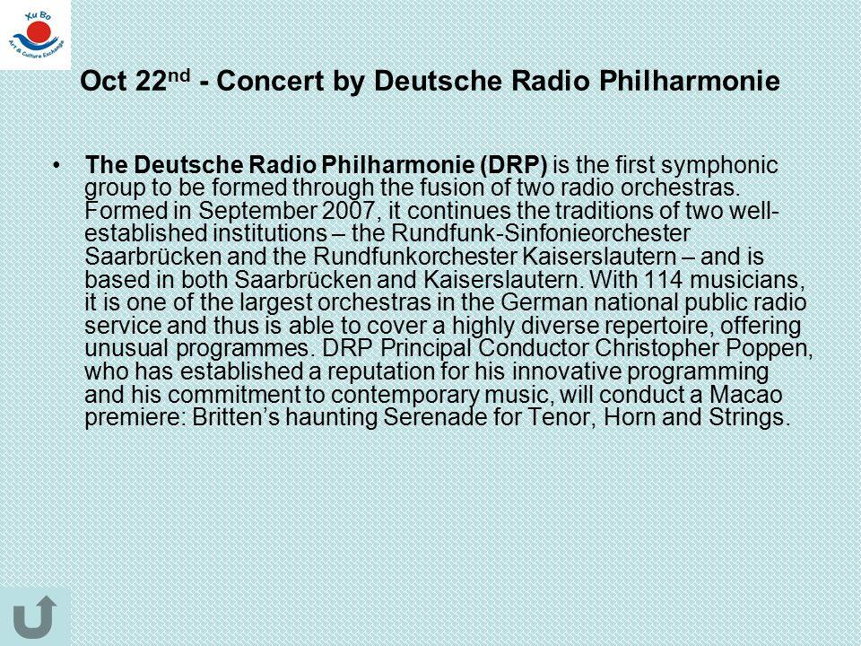 Oct 22nd - Concert by Deutsche Radio Philharmonie