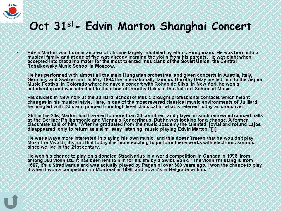 Oct 31st- Edvin Marton Shanghai Concert