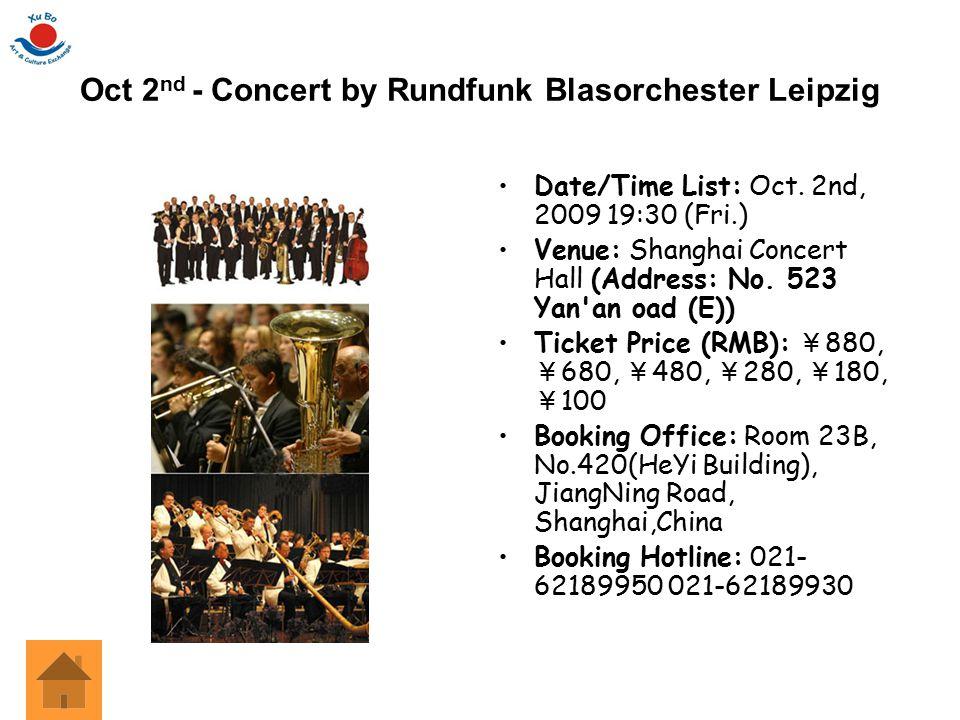 Oct 2nd - Concert by Rundfunk Blasorchester Leipzig