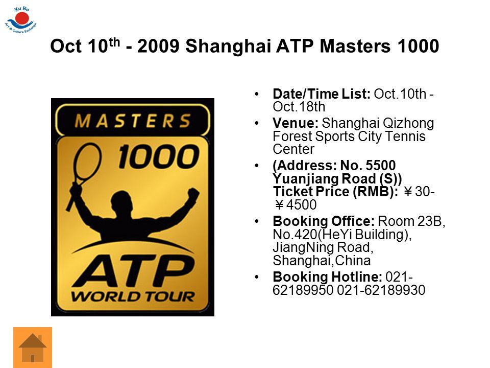 Oct 10th - 2009 Shanghai ATP Masters 1000