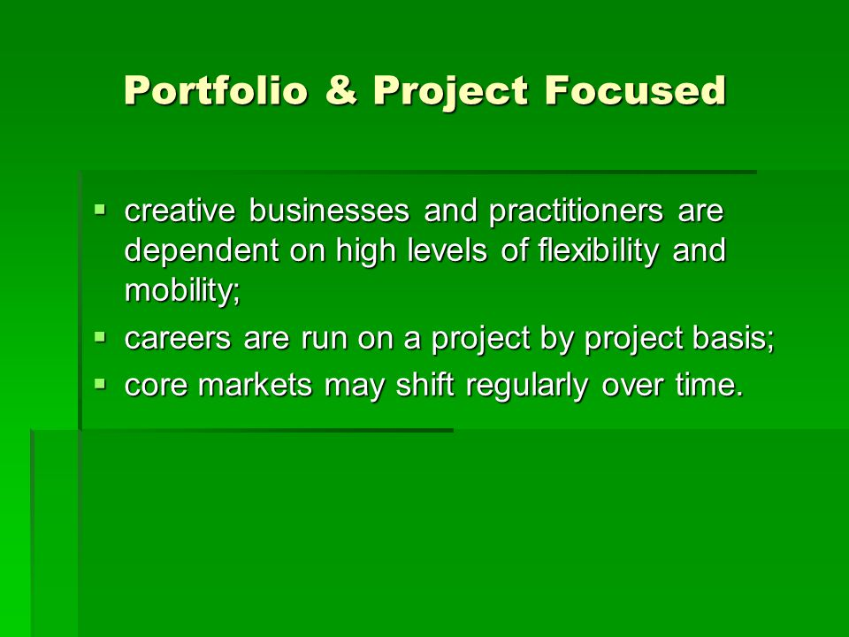 Portfolio & Project Focused