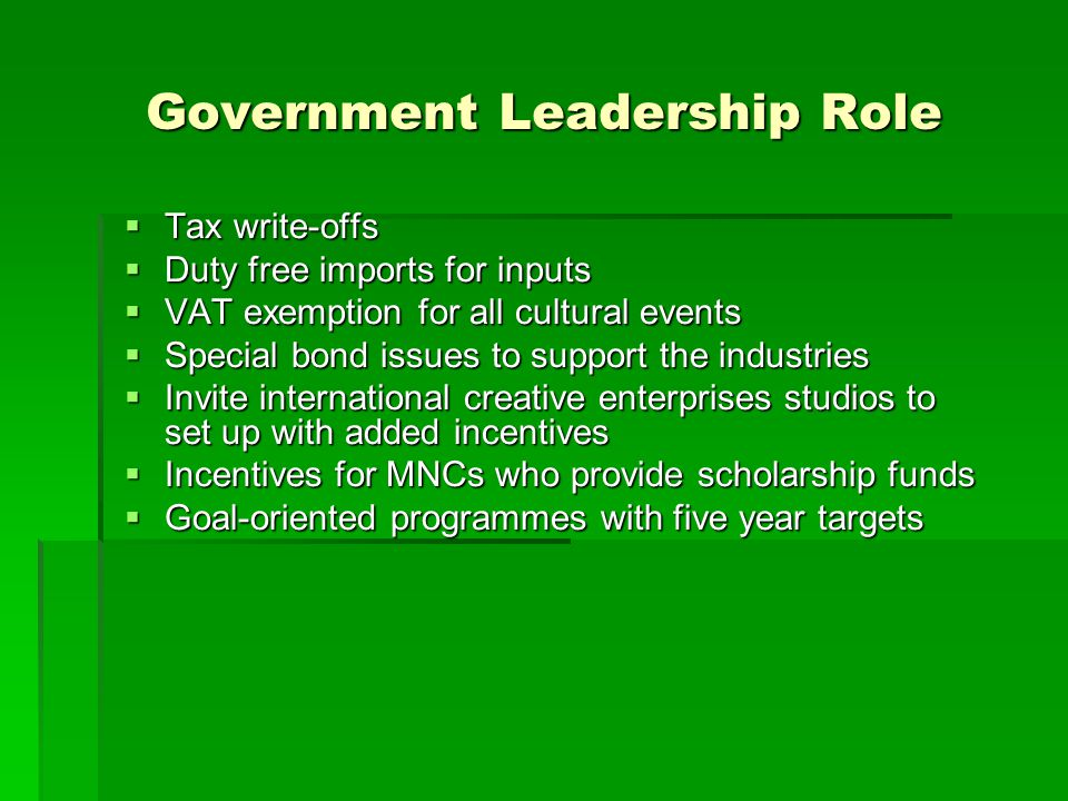 Government Leadership Role