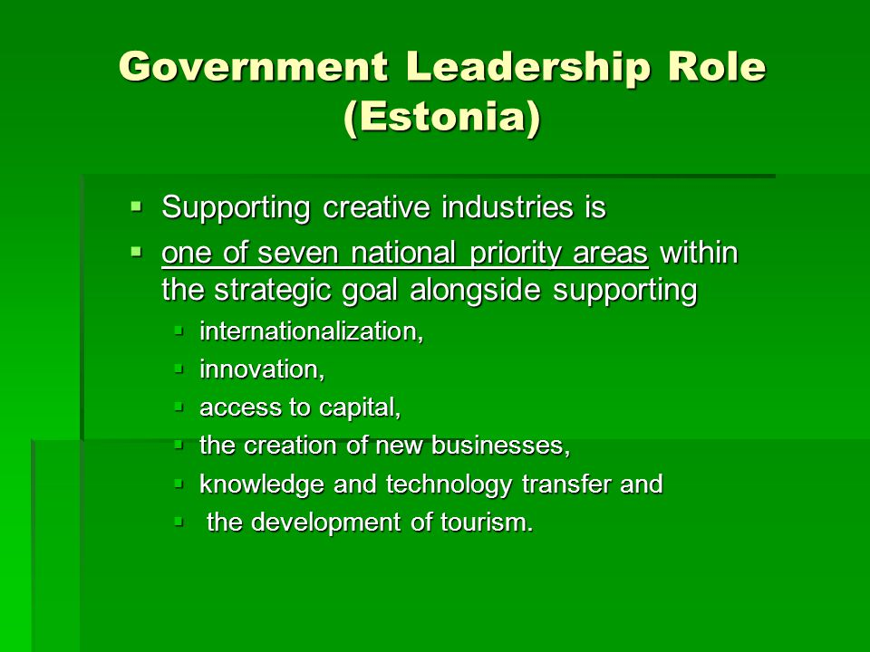 Government Leadership Role (Estonia)